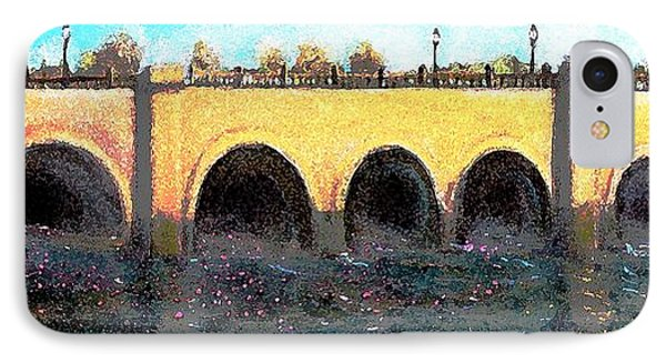 IPhone Case featuring the painting Rose Petals Floating Under The Moody Street Bridge by Rita Brown