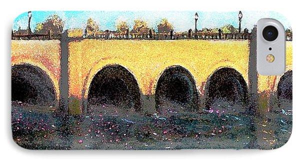 Rose Petals Floating Under The Moody Street Bridge IPhone Case by Rita Brown