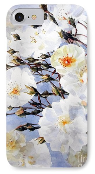 Rose Tchaikowsky A Stem Of White Roses And Buds IPhone Case by Greta Corens