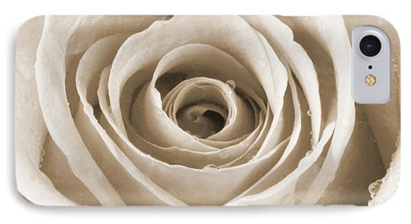 Rose With Water Droplets - Sepia Phone Case by Natalie Kinnear