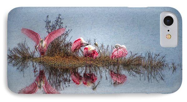 IPhone Case featuring the digital art Roseate Spoonbills At Rest by Lianne Schneider