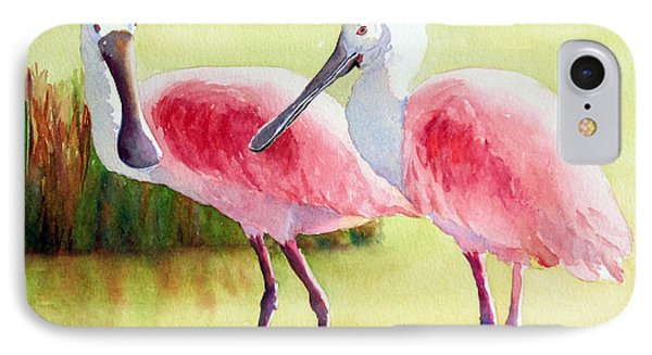 Roseate Spoonbills IPhone Case by Judy Mercer