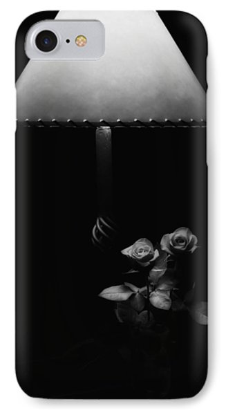IPhone Case featuring the photograph Roses By Lamplight Bw by Ron White