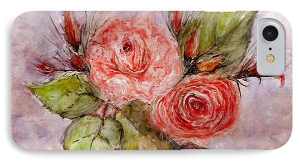 IPhone Case featuring the painting Roses For You... by Cristina Mihailescu