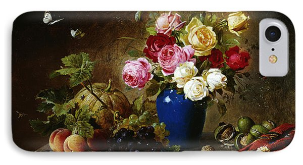Roses In A Vase Peaches Nuts And A Melon On A Marbled Ledge IPhone Case by Olaf August Hermansen