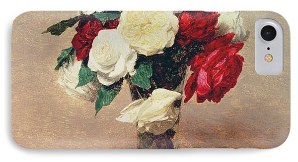 Roses In A Vase With Stem IPhone Case by Ignace Henri Jean Fantin-Latour