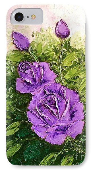Roses In Lavender Phone Case by Peggy Miller