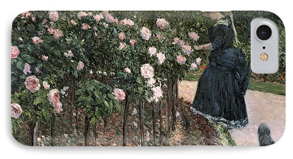 Roses In The Garden At Petit Gennevilliers IPhone Case by Gustave Caillebotte