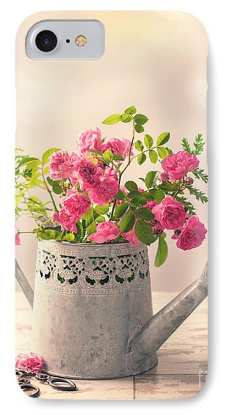 Roses In Watering Can IPhone Case by Amanda Elwell