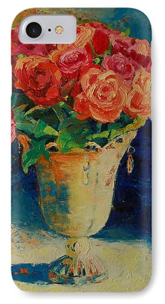 IPhone Case featuring the painting Roses In Wire Vase by Thomas Bertram POOLE