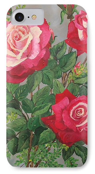 IPhone Case featuring the painting Roses N' Rain by Sharon Duguay
