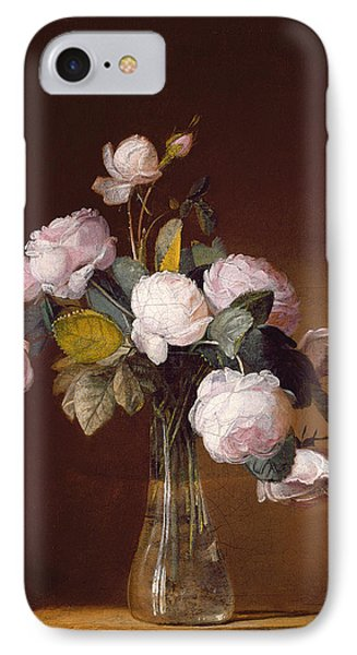 Roses On A Stone Ledge IPhone Case by Jean-Louis Prevost