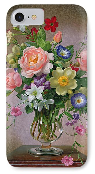 Roses Peonies And Freesias In A Glass Vase IPhone Case by Albert Williams