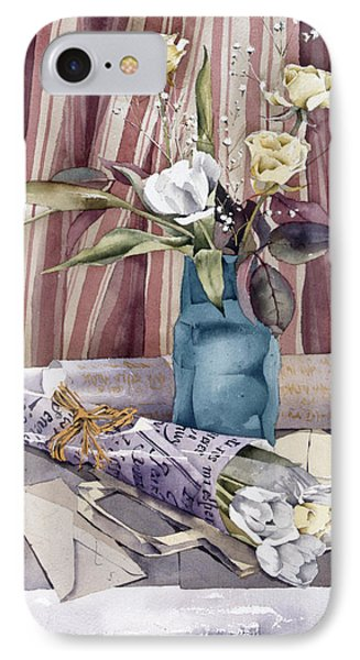 Roses Tulips And Striped Curtains Phone Case by Julia Rowntree
