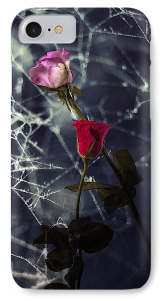 Roses With Coweb IPhone 7 Case by Joana Kruse