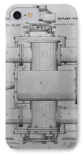 Rotary Pump Patent Drawing IPhone Case