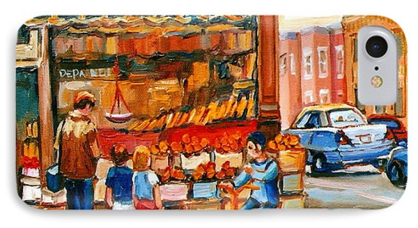 Roter's Fifties Fruit Store Vintage Montreal City Scene Paintings Phone Case by Carole Spandau