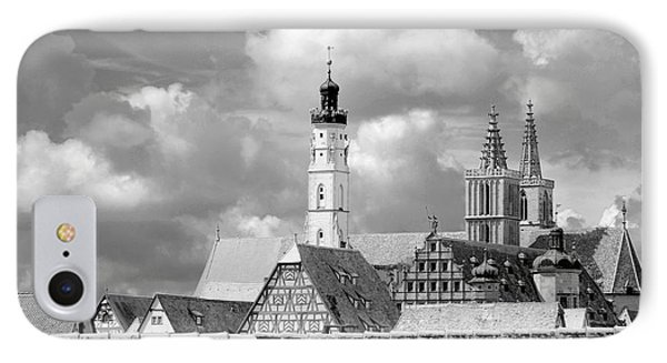 Rothenburg Towers In Black And White IPhone Case by Corinne Rhode
