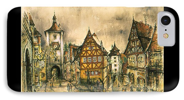 Rothenburg Bavaria Germany - Romantic Watercolor IPhone Case