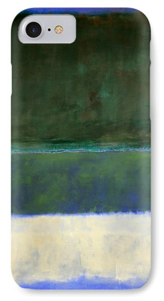 Rothko's No. 14 -- White And Greens In Blue IPhone Case