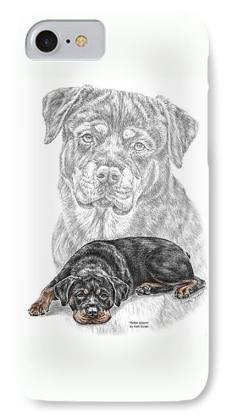 Rottie Charm - Rottweiler Dog Print With Color IPhone Case by Kelli Swan