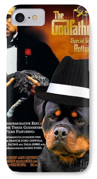 Rottweiler Art Canvas Print - The Godfather Movie Poster IPhone Case by Sandra Sij