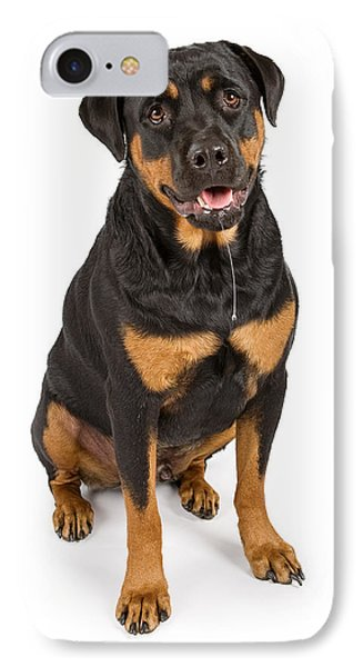 Rottweiler Dog With Drool IPhone Case by Susan Schmitz