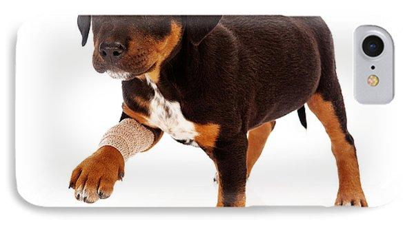 Rottweiler Puppy Injured Paw IPhone Case by Susan Schmitz