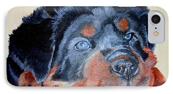 IPhone Case featuring the painting Rottweiler Puppy Portrait by Tracey Harrington-Simpson