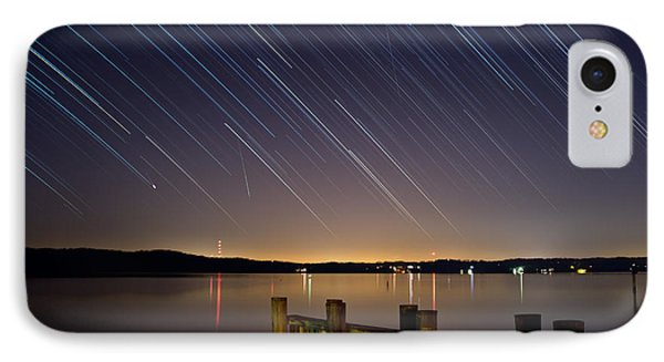 Round Bay Startrails And A Meteor Shower Phone Case by Benjamin Reed
