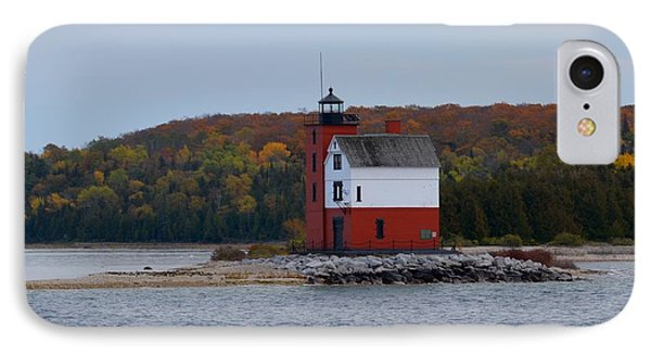Round Island Lighthouse In Autumn IPhone Case by Keith Stokes