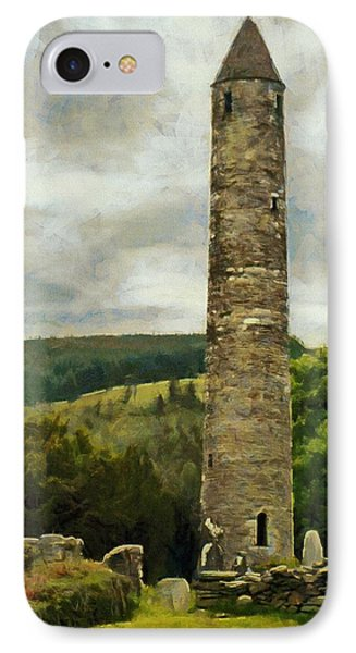 IPhone Case featuring the painting Round Tower At Glendalough by Jeff Kolker