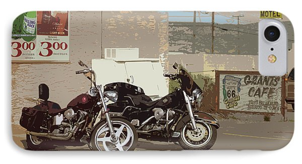 Route 66 Motorcycles With A Dry Brush Effect Phone Case by Frank Romeo