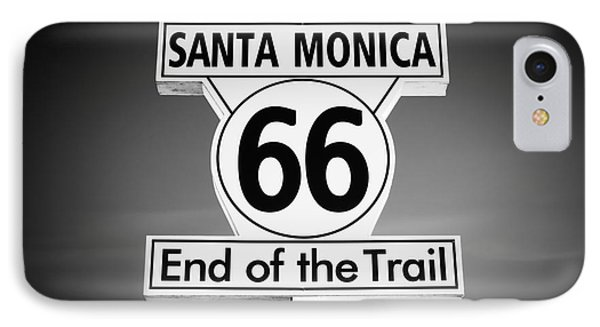 Route 66 Sign In Santa Monica In Black And White Phone Case by Paul Velgos