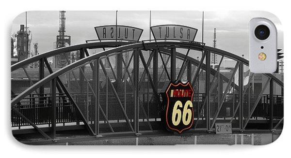 Route 66 Tulsa Sign Bw Splash IPhone Case by Tony Grider