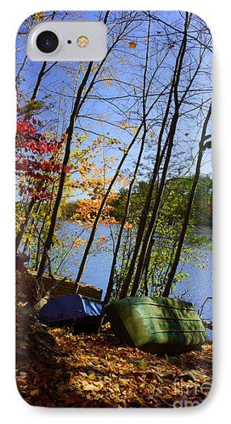 Row Boats Along Croton Reservoir - Ny IPhone Case by Rafael Quirindongo