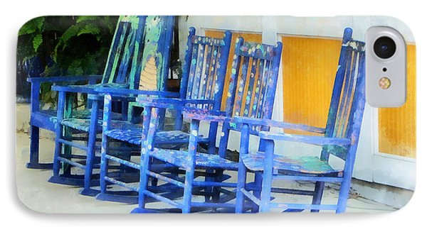 Row Of Blue Rocking Chairs Phone Case by Susan Savad