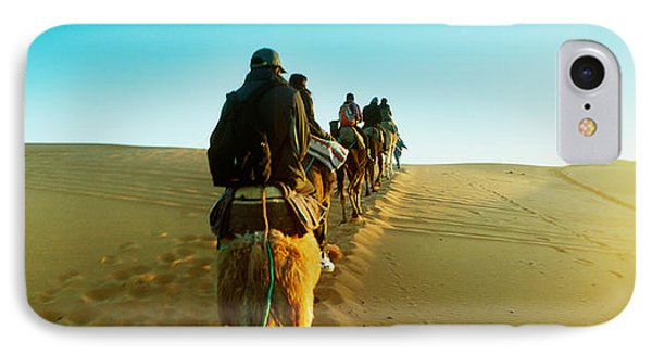 Row Of People Riding Camels IPhone Case by Panoramic Images