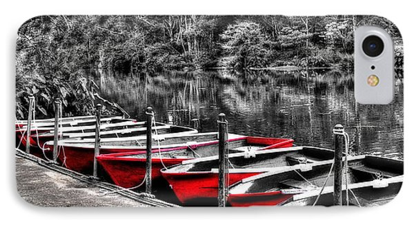Row Of Red Rowing Boats IPhone Case by Kaye Menner