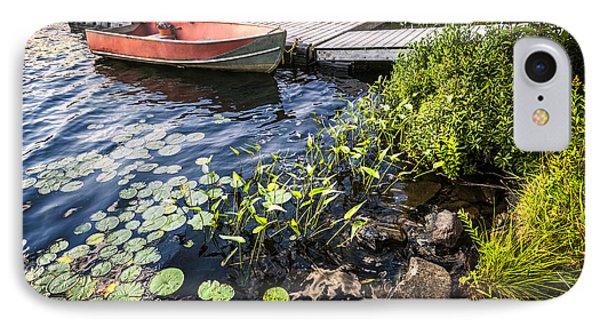 Rowboat At Lake Shore At Dusk IPhone Case