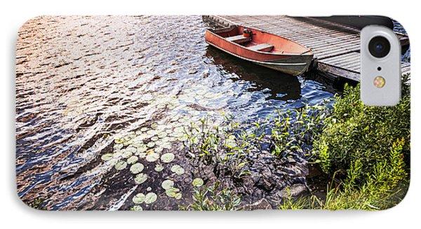 Rowboat At Lake Shore At Sunrise Phone Case by Elena Elisseeva