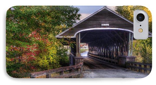 Rowell Covered Bridge In Fall IPhone Case by Joann Vitali