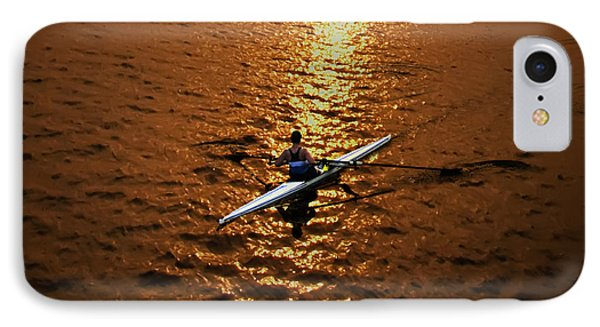Rowing Into The Sunset Phone Case by Bill Cannon