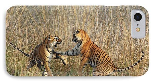 Royal Bengal Tigers Play-fighting IPhone Case by Jagdeep Rajput