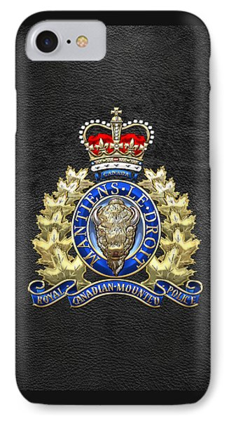 Royal Canadian Mounted Police - Rcmp Badge On Black Leather IPhone Case by Serge Averbukh