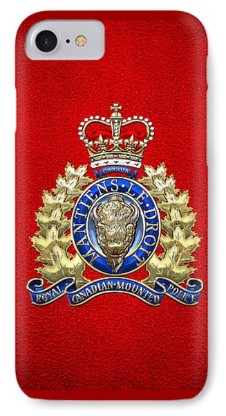 Royal Canadian Mounted Police - Rcmp Badge On Red Leather IPhone Case by Serge Averbukh