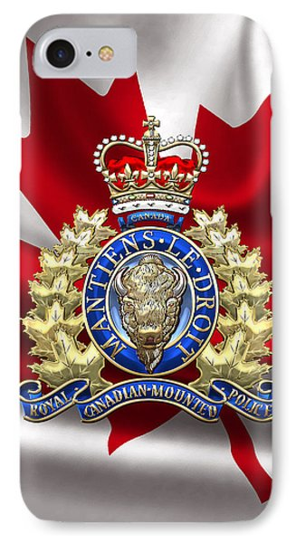 Royal Canadian Mounted Police - Rcmp Badge Over Waving Flag IPhone Case by Serge Averbukh