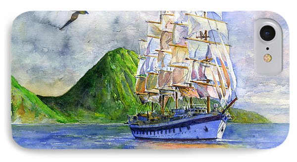 Royal Clipper Leaving St. Lucia IPhone Case