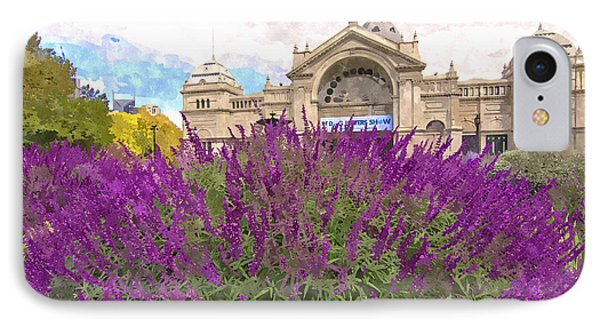 Royal Exhibition Building And Salvia Maynight Purple Flowers IPhone Case by Beverly Claire Kaiya