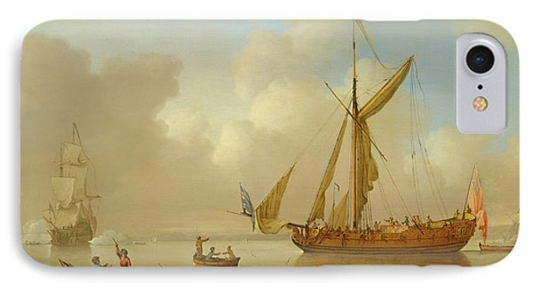 Royal Yacht Becalmed At Anchor Phone Case by  Peter Monamy